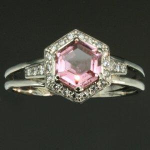 Bague vintage topaze rose diamants platine c.1950