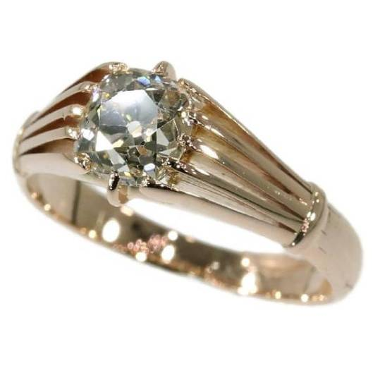 Bague-solitaire-ancienne-du-19ème-siècle-en-or-rose-18-carats-sertie-d'un-diamant